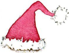 santa hat//  Good Christmas art project.  watercolors