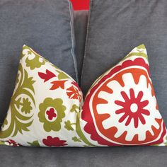 ON BOTH SIDES -  Decorative Pillow Cover - Throw Pillow Cover - Suzani - Red - Orange - Olive - 12x20 inch. $18.00, via Etsy.