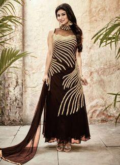 Brown Faux Georgette Designer Anarkali Salwar Suit #salwar #salwarsuit #salwarkameez #anarkalisuits #onlinesalwarshopping