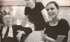 Andy Warhol and Edie Sedgwick with Alfred Hitchcock at The Factory, 1965.