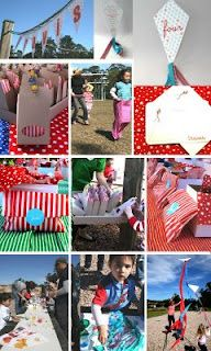 Kite flying party - I love the idea of kids decorating their own kite as an activity & then flying it. Cute packaging ideas too.