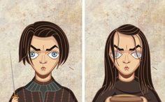 Les personnages de Game of Thrones Avant/Après : Arya