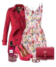 """""""Magenta Trench Coat & Floral Dress"""" by franceseattle ❤ liked on Polyvore featuring Burberry, Topshop, Versace, Oscar de la Renta, Diana Vreeland Parfums, Effy Jewelry, Irene Neuwirth and Haskell"""