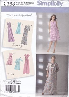 Simplicity 2363 Sewing Pattern Free Us Ship Day Evening Maxi Caftan Boho Smock Dress Size  14/22 14 16 18 20 22 Bust 30 32 34 36 New by LanetzLiving on Etsy Mccalls Patterns, Simplicity Sewing Patterns, Vintage Sewing Patterns, Smock Dress, Historical Clothing, Size 14 Dresses, Smocking, Doll Clothes, Free Pattern