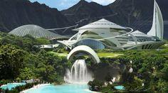 'Jurassic World' Concept Art Teases the New Jurassic Park Futuristic Architecture, Amazing Architecture, Sci Fi Stadt, Jurassic World 2015, Sci Fi City, Future Buildings, Futuristic City, Fantasy Places, Environment Design