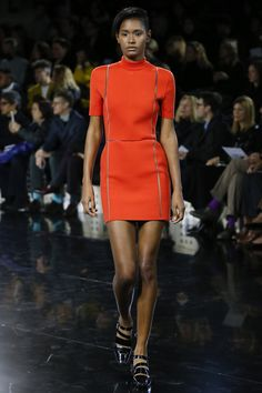 Courrèges - short sleeve bright red high neck minidress with sheer mesh lines - Fall 2016 Ready-to-Wear Collection...x