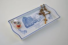 Vintage Blue Delft Ceramic Tray - Handpainded - Made in Holland / White and blue / Dutch / delftware