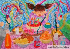 <생일폭죽이 무서워, i'm scared birthday cake's crackers, oil pastel, 2014>