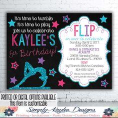 Printable gymnastics birthday party invitation tumbling party gymnastic birthday party invitation stopboris Images
