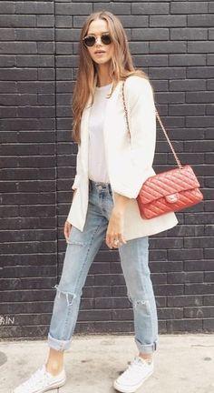 street style. white tee. blazer. sneakers. denim. red Chanel bag.