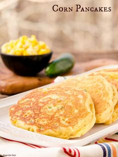 Savory Corn Pancakes are filled with corn kernels and jalapeño ...