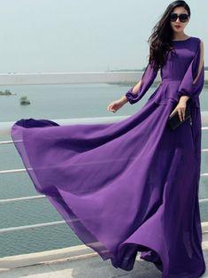 Deep Purple Long Sleeve Chiffon Dress