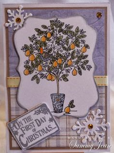 "Christmas ""partridge in a pear tree"" card with lili of the valley stamp and papers."