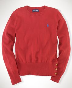 Love the gold button detail. Ralph Lauren Kids Top, Little Girls Pima Button Sweaters - Kids Girls 2-6X - Macy's $49.50 #MacysBTS