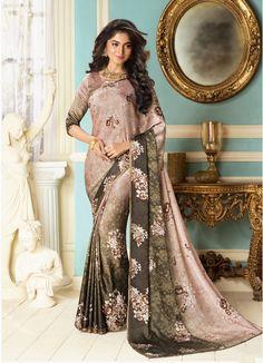 Pink Saree, Fancy Fabric Saree, Buy latest Saree with custom stitching and worldwide shipping. Indian Sarees Online, Buy Sarees Online, Indian Bridal Lehenga, Bridal Sarees, Crepe Saree, Lehnga Dress, Latest Sarees, Pink Saree, Party Wear Sarees