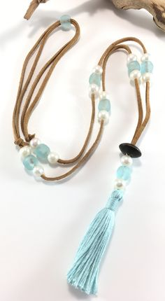 FREE Canada Shipping. Long tassel necklace. Leather and pearls. Beach glass jewelry. Ocean necklace. Boho necklace. Gift for her. Bohemian.