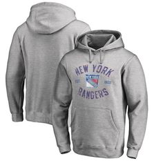 New York Rangers Fanatics Branded Big & Tall Heritage Pullover Hoodie - Ash