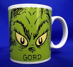 Dr. Seuss MR. GRINCH Mug Green Coffee Cup You're A Mean One Ceramic 12 Ounce