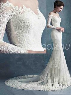 Beformal.com.au SUPPLIES Sheer Scoop Neck Long Sleeves Mermaid Court Lace Wedding  Dress 75d2ee181