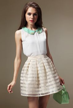 White Beige Striped Organza Pleated Skirt - Fashion Clothing, Latest Street Fashion At Abaday.com