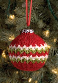 Knit this easy. festive candy cane ball christmas ornament. Deck the halls or give as an extra persona, handcrafted gift!