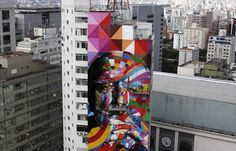 A tribute to Oscar Niemeyer by Eduardo Kobra.  The city of São Paulo is paying tribute to architect Oscar Niemeyer with a massive mural on Avenida Paulista painted by artist and muralist Eduardo Kobra with the help of four other artists over the course of the last ten days. The mural in honor of Niemeyer, who passed away last December at the age of 104, is 52 meters tall and 16 meters wide, occupying almost an entire facade of an 18-story high building at Praça Oswaldo Cruz.