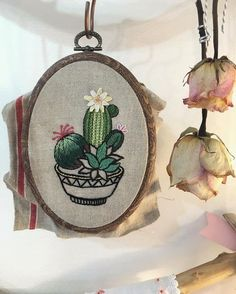 Cactus Embroidery, Modern Embroidery, Embroidery Hoop Art, Crewel Embroidery, Cross Stitch Embroidery, Hand Embroidery Tutorial, Hand Embroidery Patterns, Satin Stitch, Needlework