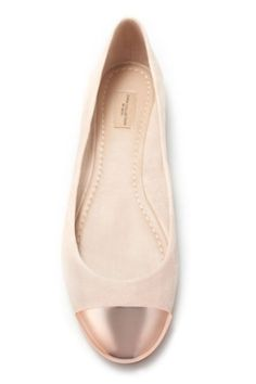 Metal cap-toe ballet flats from Zara