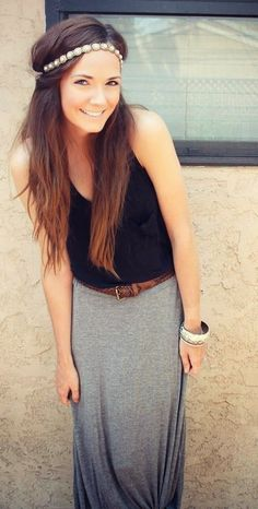 Black sleeveless blouse with grey stylish long maxi dress and leopard leather belt the perfect black & grey outfits