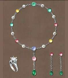 Harry Winston. Watercolor rendering of emeralds, sapphires and diamond necklace, earrings and ring set on platinum for an hypothetic collection dedicated to Audrey Hepburn.