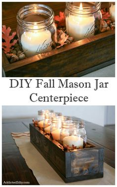 Best Mason Jar Crafts for Fall - DIY Fall Centerpiece - DIY Mason Jar Ideas for .Best Mason Jar Crafts for Fall - DIY Fall Centerpiece - DIY Mason Jar Ideas for Centerpieces, Wedding Decorations, Homemade Gifts, Craft Projects with. Pot Mason Diy, Fall Mason Jars, Mason Jar Crafts, Pots Mason, Rustic Mason Jars, Easy Fall Crafts, Fall Diy, Diy Crafts, Wooden Crafts
