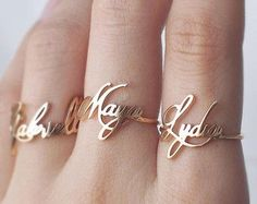 NAME RING - FONT F62 You can have your own name personalized on this ring.  * Maximum number of character: 10 * The name is 2.5mm-9mm high. *