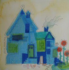 Huisjes serie, zijdevloei, aquarel, inkt.  30x30 cm. Door Tineke Hiem.