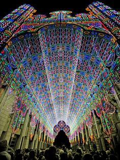 Light Festival in Ghent, Belgium  Again Italian family Luminaire de Cagna created the main attraction in the Ghent Light Festival. The spectacular light Cathedral was build with 55.000 energy efficient LED lights. Usually held in January..