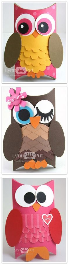 Tutorial - Pillow Box Owl treat boxes and other lovely gift boxes by Lynn Put