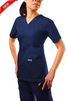 520T Navy Blue -V-Neck Solid Scrub Top -  This classic solid color v-neck scrub top is great for those who need to carry as many accessories as possible. A total of 6 front pockets, 5 in front and 1 shoulder pen pocket offer a home for everything you need to carry throughout the day.  Poly/Cotton 65/35 Medical Scrubs, Blue V, Scrub Tops, Long Sleeve Tees, Polo Ralph Lauren, V Neck, Pockets, Shoulder, Lady