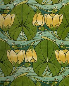 Art Nouveau Water Lilies Flowers Textile Harry Napper Counted Cross Stitch Chart in Crafts, Needlecrafts & Yarn, Cross Stitch & Hardanger Motifs Art Nouveau, Design Art Nouveau, Motif Art Deco, Art Nouveau Pattern, Art Nouveau Flowers, Jugendstil Design, Deco Retro, Alphonse Mucha, Motif Floral