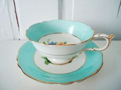 Vintage Turquoise Blue and Floral Teacup Tea Cup and Saucer