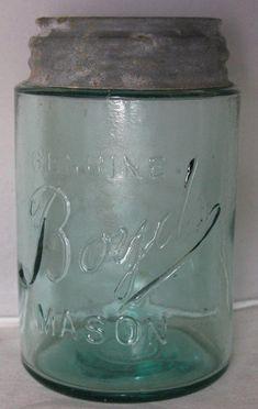 Zinc lid is a Boyd's. Antique Bottles, Vintage Bottles, Bottles And Jars, Antique Glass, Glass Bottles, Ball Canning Jars, Ball Mason Jars, Vintage Mason Jars, Vintage Dishes