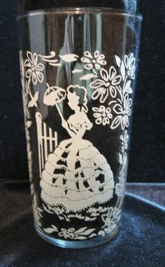 Beverage Glass with Silhouette @ Vintage Touch $4.00