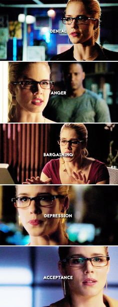 Arrow - Felicity Smoak The five stages of grief <sob> Arrow Felicity, Arrow Cw, Oliver And Felicity, Team Arrow, Felicity Smoak, Emily Rickards, Arrow Tv Series, Stephen Amell Arrow, Snowbarry
