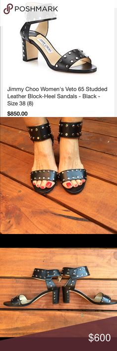 Jimmy Choo veto black studded sandals The cutest! They are still in stores now! Retail $850 not including tax! They are practically brand new just missing 5 small studs. It's not that noticeable but can be fixed. I'm selling for my mom. They are size 7 1/2 which is a 7 NO BOX Jimmy Choo Shoes Sandals