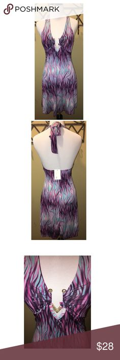 NWT, Size S, halter dress Vegas or a fun night out dancing dress!  Super cute! Dresses Midi