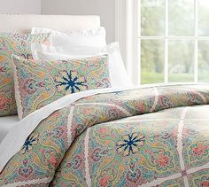 Penelope Organic Duvet Cover & Sham - Twilight Blue #potterybarn. With off white walls, lamps and sheets, this bed set would tame the red carpeting.