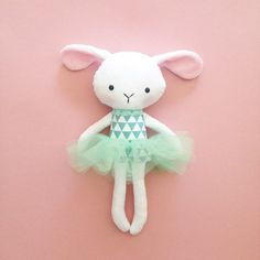 Stuffed  bunny toy  Plush bunny  Handmade rabbit by CreepyandCute. Inspiration for doll making. Please choose cruelty free vegan materials and supplies