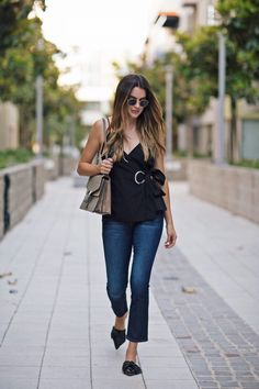 Thrifts and Threads | LA Style Blogger. Black wrapped top+dark jeans+black slides+Gucci shoulder bag. Summer outfit 2016