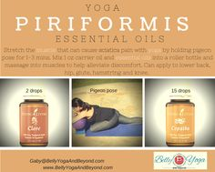 Yoga and Essential Oils, what a blend! Try this to help alleviate some of the discomfort from a tight piriformis, commonly associated with sciatica pain. Contact me for more information.