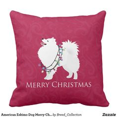 American Eskimo Dog Merry Christmas Design Throw Pillow