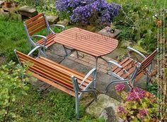 Set Mobilier Gradina OSAKA - Graten din aluminiu si lemn de salcam pentru amenajarea gradinilor si curtilor.
