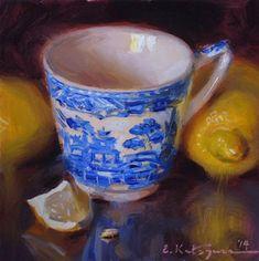 "Daily Paintworks - ""Blue Mug and Lemons"" - Original Fine Art for Sale - © Elena Katsyura Tea Cup Art, Amazing Paintings, Oil Paintings, Apple Art, Examples Of Art, Watercolor Art, Watercolor Landscape, Fine Art Gallery, Art Techniques"